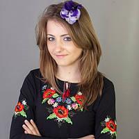 Осенняя женская футболка-вышиванка с длинным рукавом Маки-братчики цвет  черный до 50 размера 042e591e64256