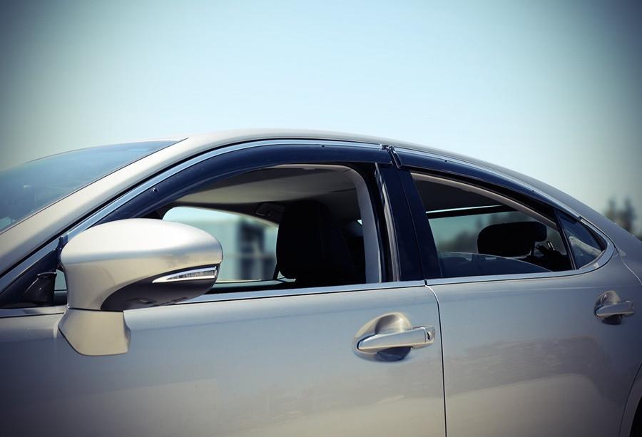 Дефлекторы окон (ветровики) Lexus ES 2013- С Хром Молдингом