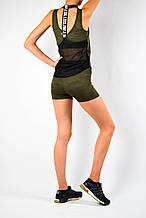 Женский спортивный комплект для фитнеса хаки эластан камуфляж