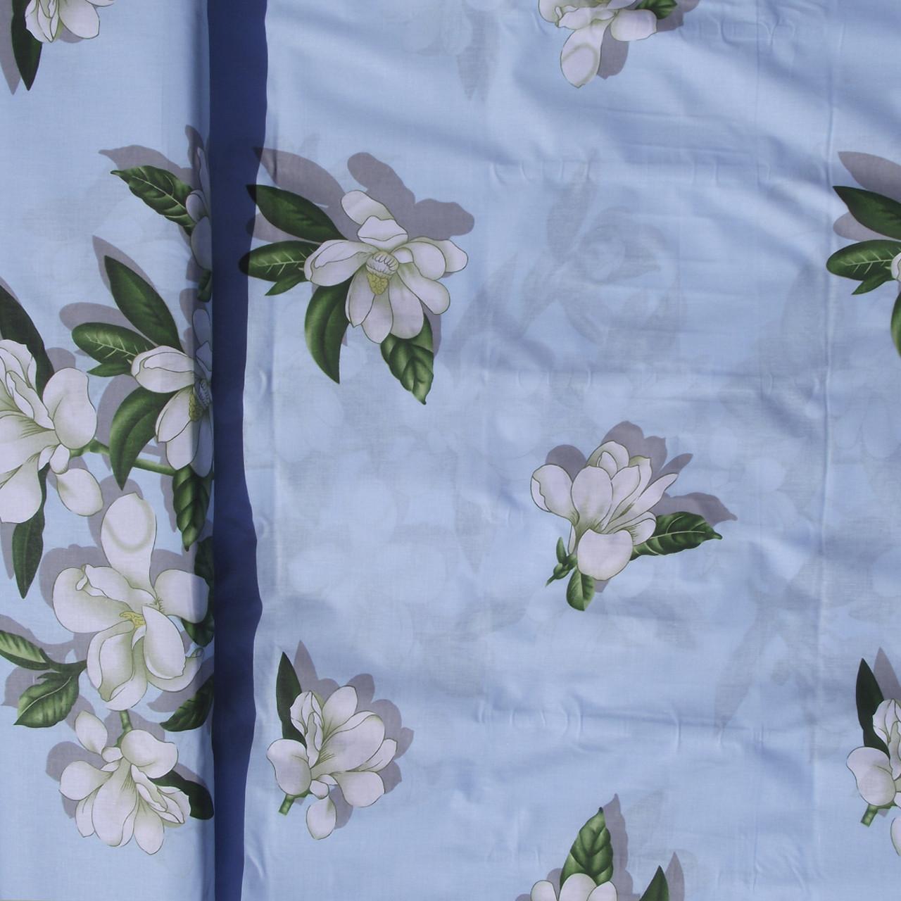 Бязь Голд Цветок Вишни на Голубом фоне
