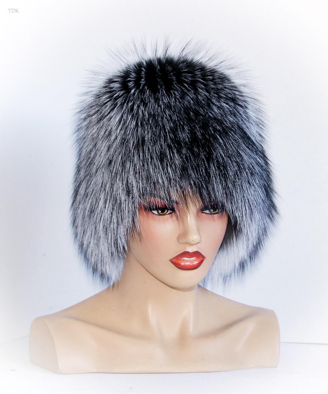 Меховая шапка Кубанка из Чернобурки (темная) - Меховые шапки b46de548c8ee3