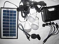Аккумулятор на солнечной батарее GDLite GD-8008 с переходниками, 3 лампы