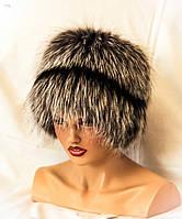 Меховая шапка Кубанка из Чернобурки с полосой.