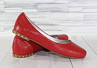 Стильные красные балетки с мелкими шипами. Натуральная турецкая кожа 1782, фото 1