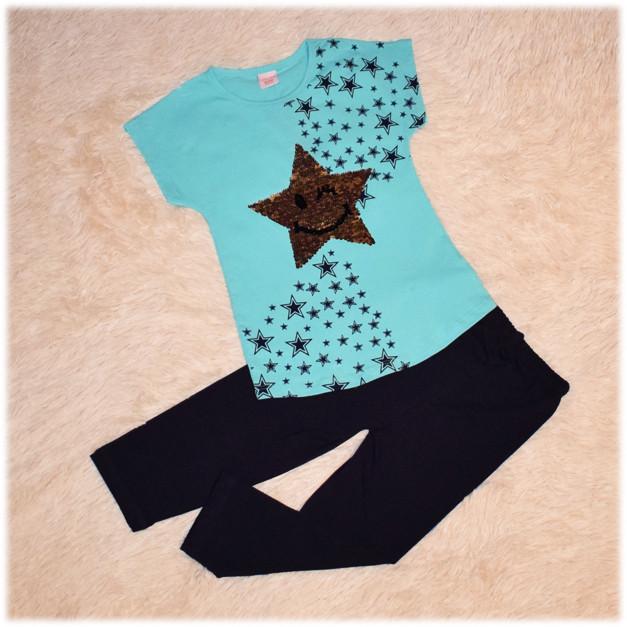 Летний костюм на девочку  туника+лосины в пайетки - перевертыши ТМ Турция размеры 110 116 128