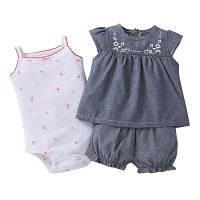 Летний комплект для девочки (боди, платье, шорты), код (38194) в наличии: 6M,9M,12M,18M