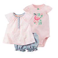 Летний комплект для девочки (боди, платье, шорты), код (38193) в наличии: 6M,9M,12M,18M