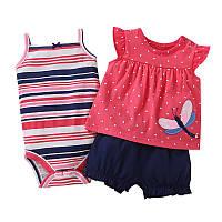 Летний комплект для девочки (боди, платье, шорты), код (38189) в наличии: 6M,9M,12M,18M