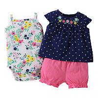 Летний комплект для девочки (боди, платье, шорты), код (38190) в наличии: 6M,9M,12M,18M