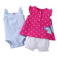 Летний комплект для девочки (боди, платье, шорты), код (38185) в наличии: 12M,18M
