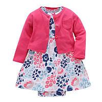 Летний комплект для девочки (платье + кофточка), код (38176) в наличии: 6M,9M,12M,18M,24M
