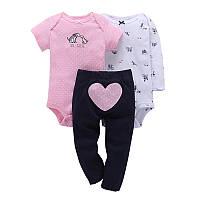 Комплект для девочки (штаны+2 боди), код (38173) в наличии: 6M,9M,12M,18M,24M