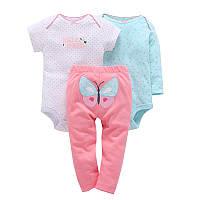 Комплект для девочки (штаны+2 боди), код (38174) в наличии: 6M,9M,18M,24M