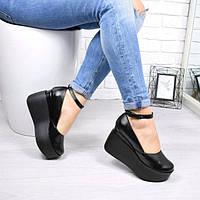 Туфли женские черная кожа ремень Vessa 4742