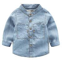 Мягкая жинсовая рубашка с длинными рукавами для детей, код (38124) в наличии: 90 см,100 см,110 см,120 см,130 см