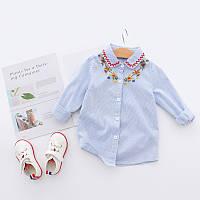 Синяя рубашка с длинными рукавами для детей, высокое качество пошива, код (38108) в наличии: 150 см,100 см,120 см