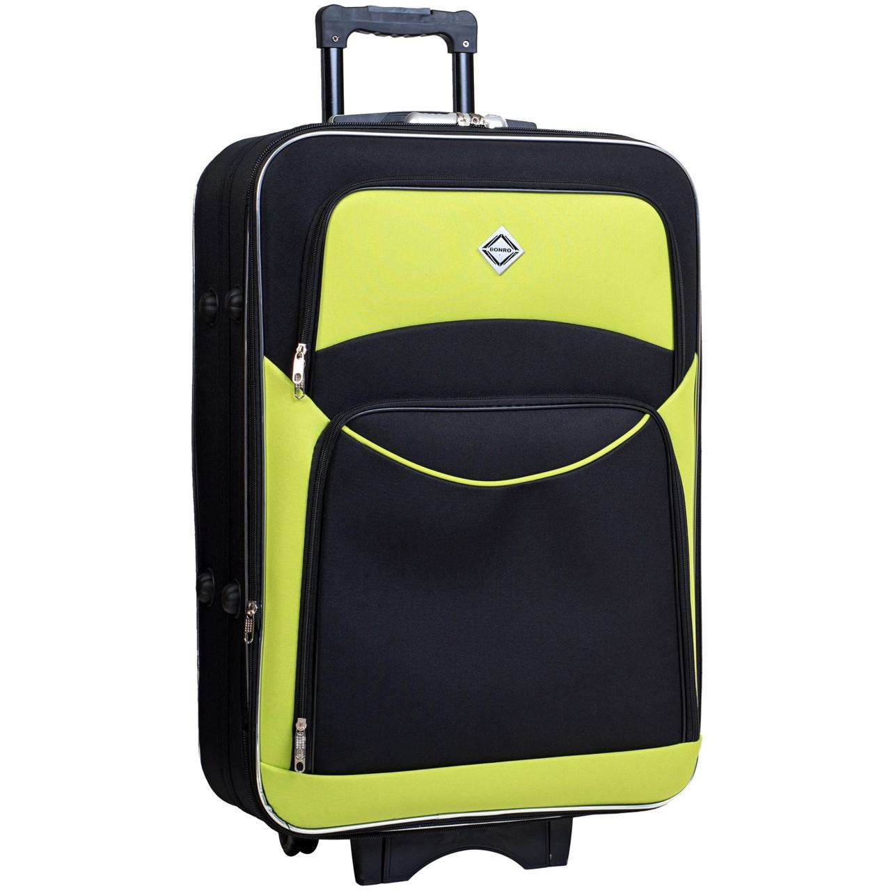 Дорожній валізу на колесах Bonro Style Чорно-салатовий Великий