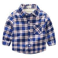 Теплая детская рубашка в клетку для мальчика, качество высокое!, код (37991) в наличии: 90 см,120 см,130 см