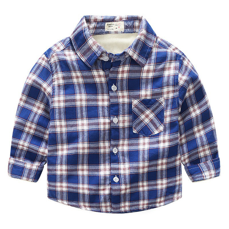 9aa361031f0 Теплая детская рубашка в клетку для мальчика