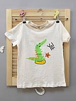 Стильная детская футболка зеленый динозавр, код (37918) в наличии: 130 см,140 см
