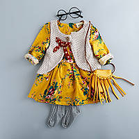 Комплект для девочки, платье+безрукавка, код (37829) в наличии: 80 см