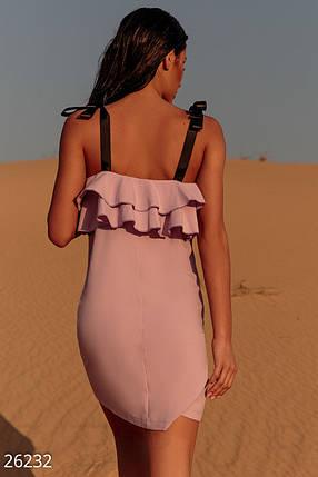 Легкое платье с рюшами на бретелях прямого кроя сиреневое, фото 2