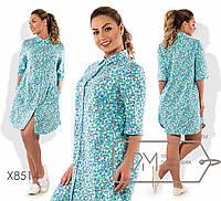 """Платье-рубашка мини из льна с цветочным принтом короткими рукавами """"подкаты"""" и пуговками вдоль лифа X8514"""
