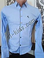 Стильная рубашка для мальчика 11-15 лет(опт) (голубая) (пр. Турция)