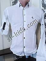 Стильная рубашка для мальчика 11-15 лет(опт) (белая) (пр. Турция)