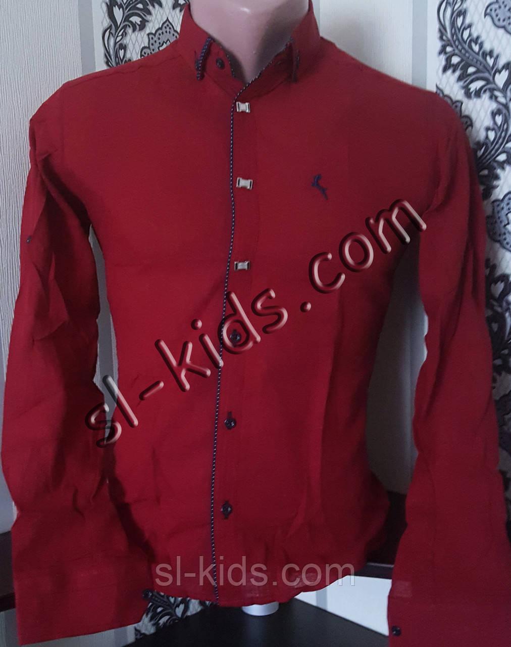Стильна сорочка для хлопчика 11-15 років(опт) (бордова) (пр. Туреччина)