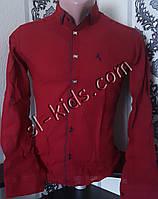 Стильная рубашка для мальчика 11-15 лет(опт) (бордовая) (пр. Турция)