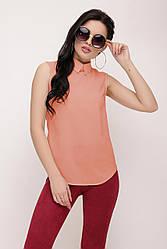 """Персиковая летняя шифоновая блузка без рукава однотонная с воротником """"Shelly"""""""
