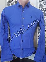 Стильная рубашка для мальчика 11-15 лет(опт) (синяя) (пр. Турция)