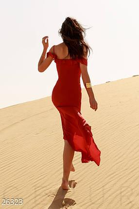 Воздушный летний сарафан открытые плечи тонкие бретели красное большие размеры, фото 2