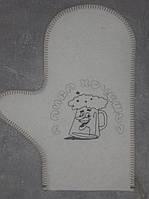 Рукавица для бани светло-серый войлок с вышивкой