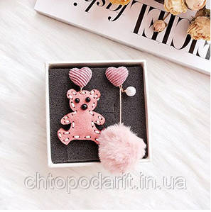 Серьги плюшевый мишка Код 10-7396