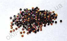 Стразы для дизайна ногтей голограммные (черный с золотым отливом) 100 штук