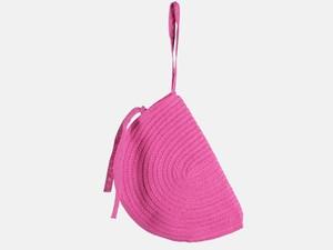 Клатч розовый соломенный Деми