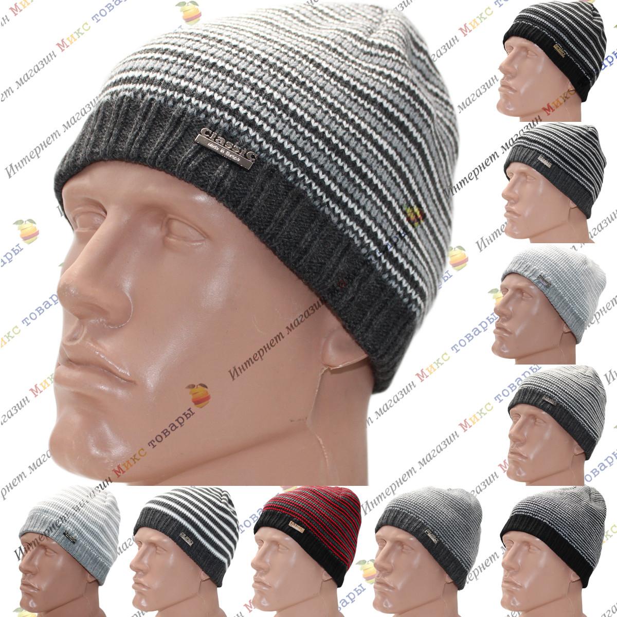 Мужские вязанные шапки с флисом