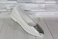 Летние белые балетки. Натуральная кожа 1800, фото 1