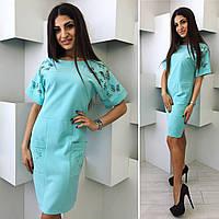 Платье с перфорацией бирюзового цвета от YuLiYa Chumachenko