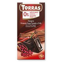 Шоколад без сахара и глютена Torras с розовым перцем, корицей и перцем Чили Испания 75г, фото 1