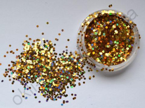 Шестикутники для дизайну нігтів, золото голограма