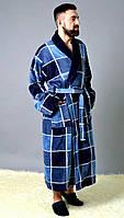 """Удлиненный мужской домашний халат в клетку """"SYLVESTOR"""" с карманами"""