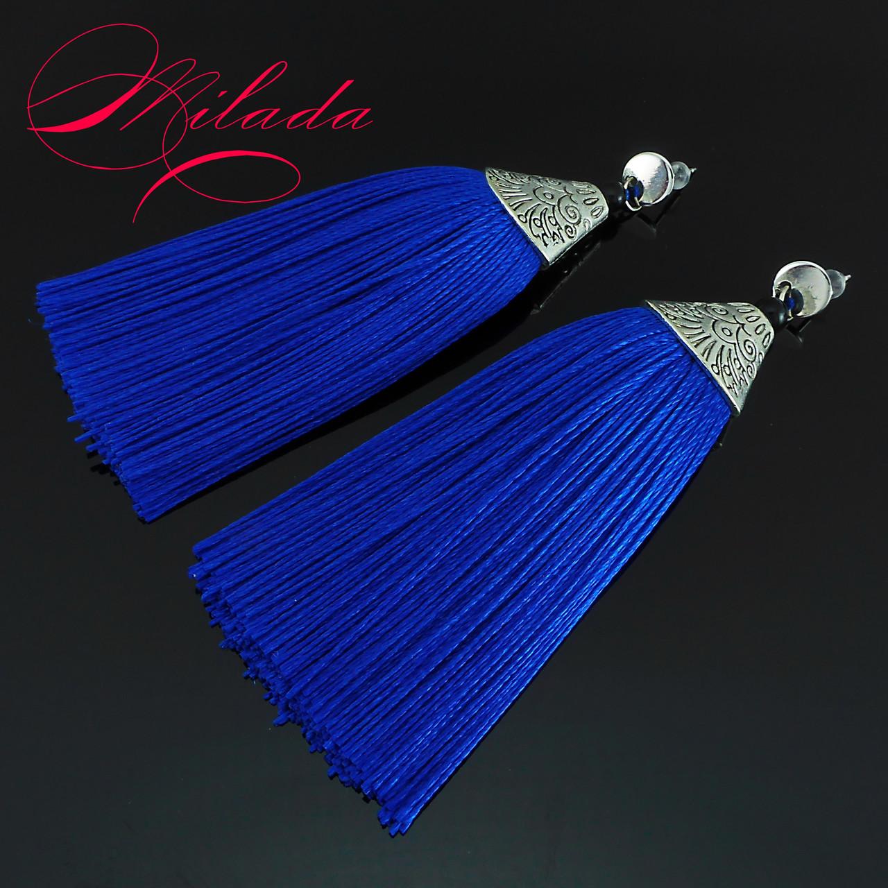 Серьги - кисточки синие.