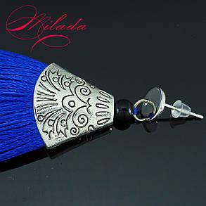 Серьги - кисточки синие., фото 2