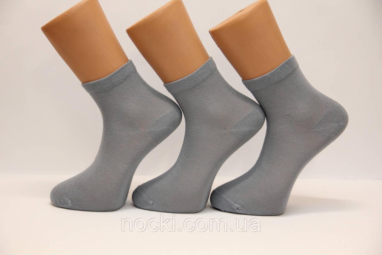 Мужские носки средние с хлопка,кеттельный шов Маржинал 40-45 светло серый