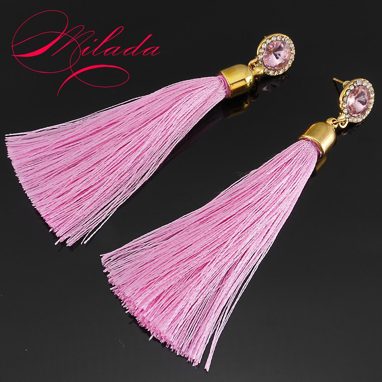 Серьги - кисточки розовые.