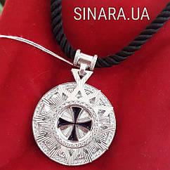 Роскошный серебряный кулон Звезда Эрцгамма диам. 33мм на шелковом шнурке 50 см