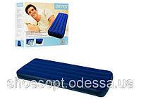 Надувной матрас Интекс Intex 191x76x22 см одноместный велюровый